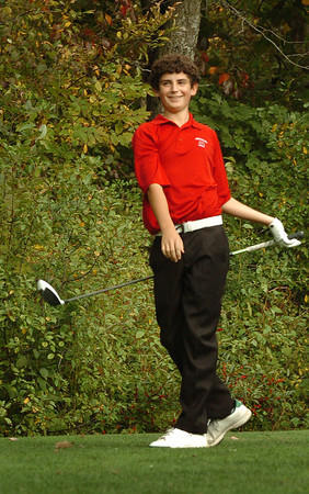 Amesbury: Amesbury freshman Paddie Flahardy checks out his drive at the Amesbury Country Club against Triton yesterday. Bryan Eaton/Staff Photo