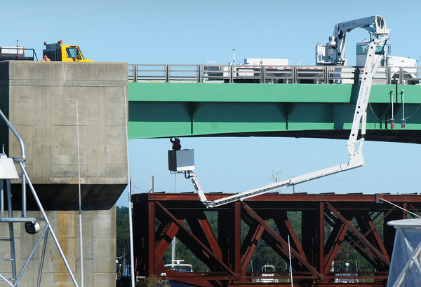 Newburyport: The northbound lane of the Route One Gillis Bridge is down to one lane this week for inspections. Every bridge in the state is inspected every two years for safety. Bryan Eaton/Staff Photo