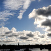 Salisbury: Newburyport's skyline stands black against the late afternoon sky over the Merimack River as seen from Salisbury. jim vaiknoras/staff photo
