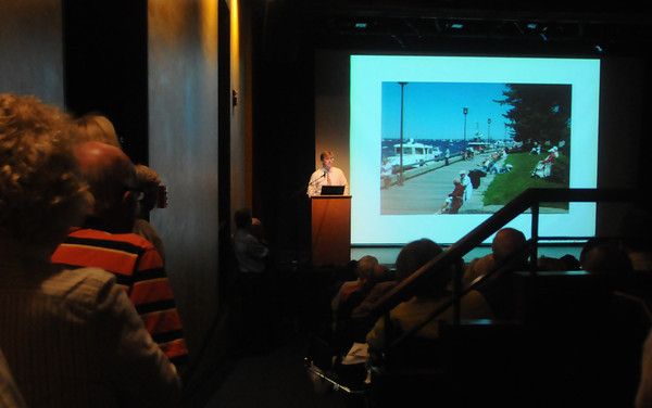 newburyport: It was standing room only as Donald Power of Union Studio explains the NRA plan for Market Landing Park and the surrounding area  JIm Vaiknoras/staff photo
