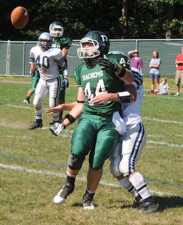 West Newbury: Pentucket's Tim Freiermuth looks up a tipped ball before in falls incomplete against Hamilton Wenham Saturday. Jim Vaiknoras/staff photo