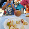 Newburyport: Brady Kebler, 5, takes samples apples at the Newburyport Farmers Market's Apple festival Sunday morning. jim Vaiknoras/staff photo