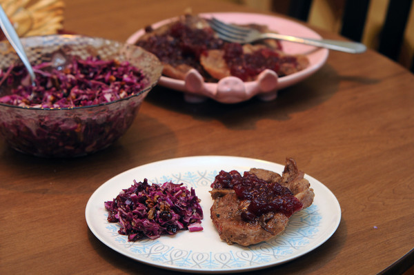 Newburyport: Suzanne DeWitt's cranberry pork and cole slaw. Jim Vaiknoras/staff photo