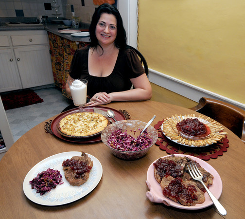 Newburyport: Suzanne DeWitt<br />  with her cranberry based creations. Jim Vaiknoras/staff photo