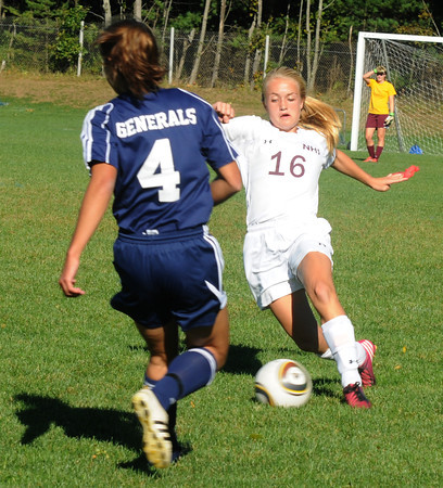 Newburyport:Newburyport's Isabella Palma beats  Hamilton Wenham's Cara Durgin during their game at Cherry Hill Wednesday. JIm Vaiknoras/staff photo