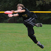 West Newbury: Liam Murry, 10, makes tough catch while playing frisbee at the Little League Field in West Newbury Sunday afternoon. Jim Vaiknoras/staff photo