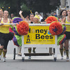 Newburyport: The Institution for Savings bed buzzes its way to the finish line in the Yankee Homecoming Lions Club Bed Race on Federal Street Thursday night. Jim Vaiknoras/staff photo