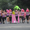 newburyport: Zumba with Tracey, all in pink, dance to the finish line in the Yankee Homecoming Lions Club Bed Race on Federal Street. Jim Vaiknoras/staff photo