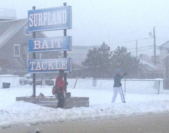 Newbury: Two skiiers venture out into the blizzard on Plum Island Boulevard. Mac Cerullo/Staff Photo