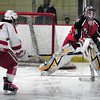 Newburyport: Amesbury goalie Evan King makes a save on a shot by Hudson's Rocco Malloy. Bryan Eaton/Staff Photo