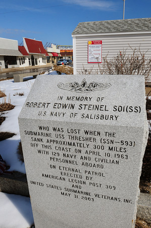 Salisbury: This marker in memory of local navyman Robert Steinel was placed at the front of Broadway at Salisbury Beach ten years ago. Bryan Eaton/Staff Photo