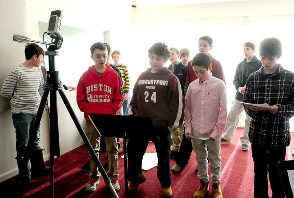 Newburyport: Nock Middle School sixth-graders record their song at the Musical Suite in the Tannery. Bryan Eaton/Staff Photo