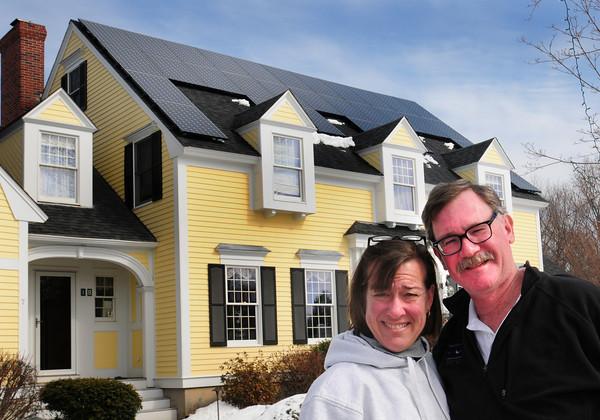 Newburyport: Andy Gilbert got his wife Maureen a unique birthday gift, an array of solar panels on their Ocean Avenue, Newburyport home. Bryan Eaton/Staff Photo