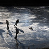 Newburyport: The cold weather has returned refreezing the Frog Pond at the Bartlet Mall allowing these youngsters to practice their hockey skills on Tuesday afternoon. Bryan Eaton/Staff Photo