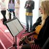 Newburyport: Nock Middle School teacher Samie Sokolowski plays the guitar. Bryan Eaton/Staff Photo