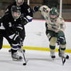 Newburyport: Pentucket's Tom Pingree moves to cover Shawsheen Tech's John Orlando. Bryan Eaton/Staff Photo