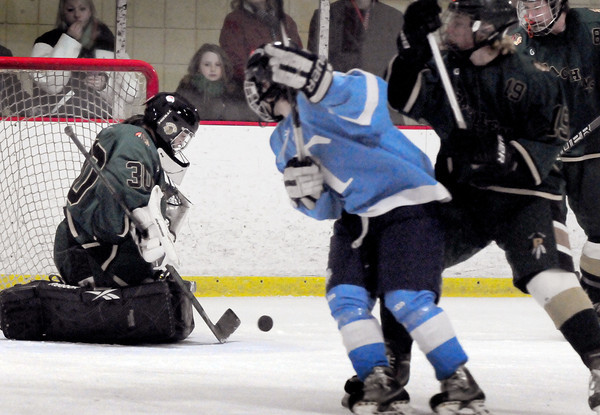 Newburyport: Sammantha Bomba makes a save against Triton. Bryan Eaton/Staff Photo