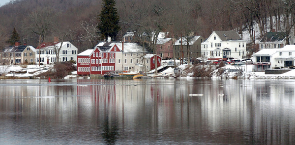 Amesbury: A snowy scene on Point Shore in Amesbury reflects off the Merrimack River on Monday in a view taken from Spring Lane in Newburyport. Bryan Eaton/Staff Photo