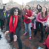newburyport: Fontaine Dubus lead a flash mob as part of  the international nonprofit organization One Billion Rising. whose mission is violence prevention Events like this were held around the world. Jim Vaiknoras/staff photo