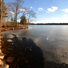 Newburyport: Open water along the shore of the Artichoke due by the recent warm weather has caused the cancilation of this weekends ice fishing derby. Jim Vaiknoras/staff photo