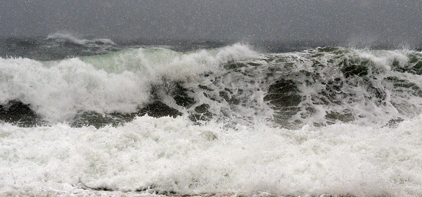Newbury: The sea off Plum Island is churned by the weekend's weather. Jim Vaiknoras/staff photo