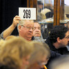 Amesbury: Donny Greenwell of Waverly Kentucky bids on an item at the JFK auction at the John McInnis Auction house in Amesbury Sunday. Jim Vaiknoras/staff photo