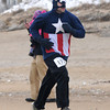 Salisbury: Michael Uttley of Newburyport dressed in a Capt. America sweatshirt to run the Frosty Knuckle 5k in Salisbury Saturday. Jim Vaiknoras/staff photo