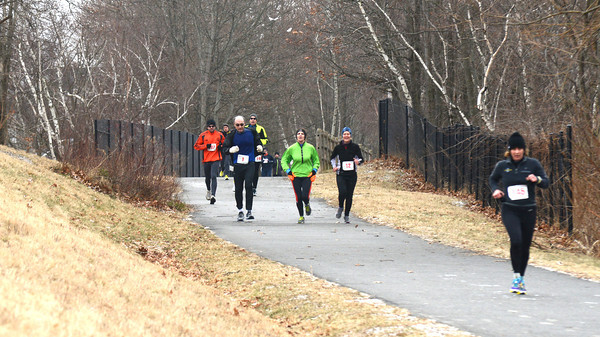 Newburyport: Runner make their way down the Rail Trail in the 20th Annual Newburyport Rotary Frigid Fiver Sunday afternoon. Jim Vaiknoras/staff photo