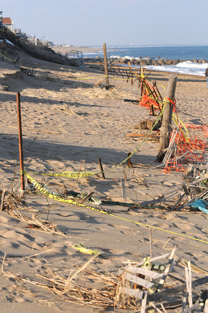 Newbury: Damaged seafence on Plum Island. Jim Vaiknoras/staff photo