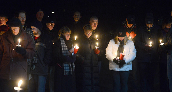 west Newbury: About 100 friends and family member gather at Pentucket high to remember Jackie Kastrinelis who died earlier this week. Jim Vaiknoras/staff photo