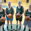 West Newbury:Pentucket basketball seniors Alex Moore, Emily Dresser, Tess Nogueira,  and<br /> Coley Viselli. Jim Vaiknoras/staff photo