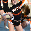 Byfield: Beverly cheerleader Alex Dodge during the teams performance at the Cape Ann Championships at Triton Sunday. Jim Vaiknoras/staff photo