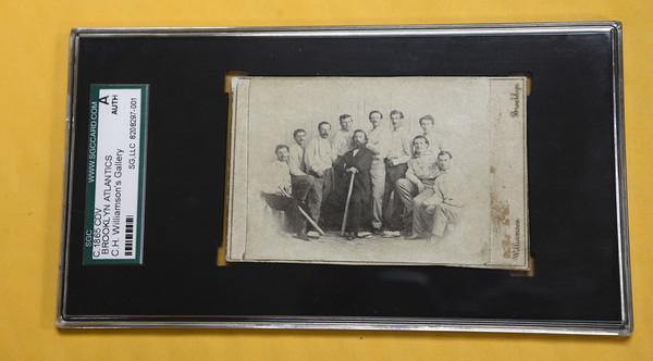 Newburyport:The original baseball card recently purchased by Jason Leblanc at auction. JIm Vaiknoras/staff photo