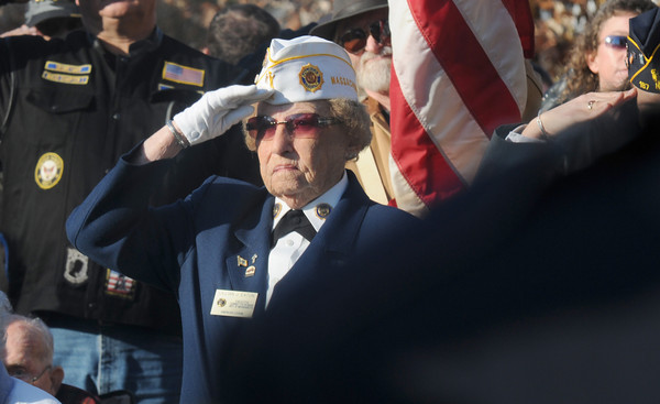 Amesbury: Lillian Eaton of teh American Legion salutes at the city's annual Veteran's Day service at the Doughboy statue in Amesbury for . Jim Vaiknoras/staff photo