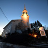 Newbury: The sun sets behind the First Parish Church of Newbury on a cold Sunday night. Jim Vaiknoras/staff photo