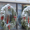 Amesbury: Ice from melting snow covers wreaths in Market Square in Amesbury. Jim Vaiknoras/staff photo
