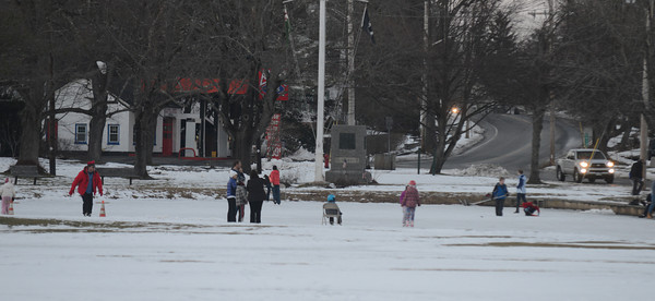 Newbury: Skaters glide along the pond on the Upper Green in Newbury. Jim Vaiknoras/staff photo
