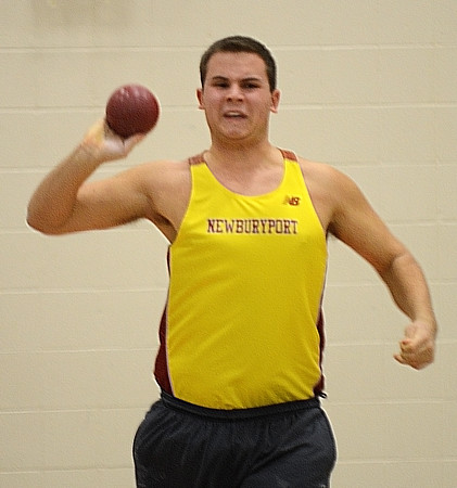 Ipswich: Newwburyport's Cyrus Woodman tosses the shot putt at a track meet at Ipswich High Tuesday. Jim Vaiknoras/staff photo