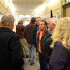 Newburyport: Newbury residentwait in the hallway at a special meeting of the Newburyport City Council Saturday morning after the council went into executive session. JIm Vaiknoras/staff photo