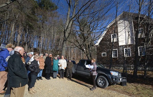 Newbury: Adele Pollis leads a Memorial for the Bushee home that was demolished Thursday on Newman Road in Newbury. Jim Vaiknoras/staff photo