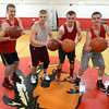 Amesbury: Amesbury high basketball players, Devlin Gobeil, Jack Fortin, Kyle Arseneau, Pat Halloran, Tommy Connors and Curran O'Connor. All 6 have lead the team in scoring this year. Jim Vaiknoras/staff photo