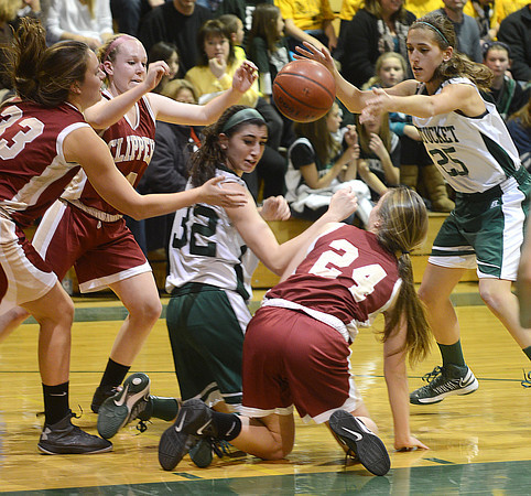 West Newbury: Pentucket 's Tess Nogueira and Carolyn Modlish scramble for the ball with Newburyport's Mary Pettigrew, Amy Sullivan , and Lilly Donovan  during their game at Pentucket Friday night. Jim vaiknoras/staff photo
