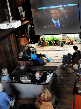 Byfield: Local democrats held an Inauguration Watch Party in Byfield yesterday morning. The event was hosted by Newbury Democratic Town Committee members Gillian and Bill Danner. Bryan Eaton/Staff Photo