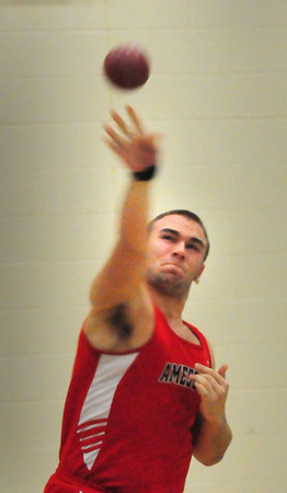 Ipswich: Amesbury's Perry Mroz in the shot put. Bryan Eaton/Staff Photo