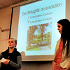 Newburyport: Newburyport High School students Jessica Uhlig, left, and Astrid Burnham-Alouat present their classes findings about the health of the Frog Pond at the Bartlet Mall to Mayor Donna Holaday. Bryan Eaton/Staff Photo