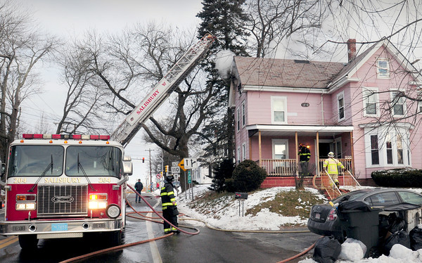 Salisbury: Salisbury firefighters, with mutual aid from other towns, took on this fire at 21 Bridge Road just past 8:00 a.m. on Wednesday morning. Damages could approach $100,000 from the blaze which appears to have started on the top floor. Bryan Eaton/Staff Photo