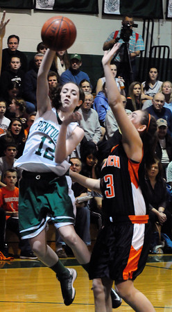 West Newbury: Pentucket's Kelsi McNamara goes for two last night against Ipswich. Bryan Eaton/Staff Photo