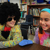Newburyport: Michael Salvatore, left, and Mia Rodruguez, both 9, don 70's attire at the Bresnahan School in Newburyport on Thursday. The school was having 70's Spirit Day with a disco dance later that night. Bryan Eaton/Staff Photo