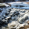 Byfield: Melting snow feeds the rushing Parker River at the dam on Central Street in Byfield. Bryan Eaton/Staff Photo