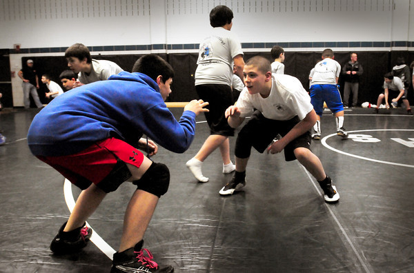 West Newbury: Youngsters in the Pentucket youth wrestling program practice Tuesday night. Bryan Eaton/Staff Photo